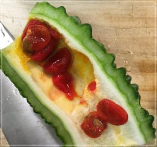 凪のお暇[1話] レシピ/ゴーヤの種が赤くて甘い!ゴンの黄色いラッキーゴーヤ
